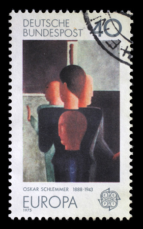 choreographer: Stamp printed in Germany shows the abstract painting by Oskar Schlemmer, german painter, sculptor, designer and choreographer, Bauhaus school, circa 1975.