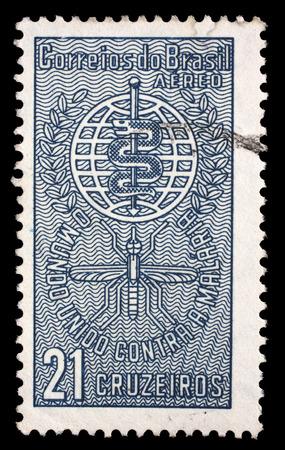 eradication: Stamp printed by Brazil dedicated to the Malaria Eradication, circa 1962.