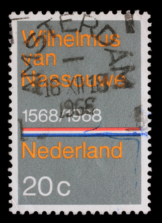 sello: Stamp printed in the Netherlands issued for the 400th anniversary of Dutch National Anthem shows Wilhelmus van Nassouwe, circa 1968.
