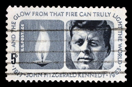 fitzgerald: Stamp printed in USA shows President John Fitzgerald Kennedy, circa 1964
