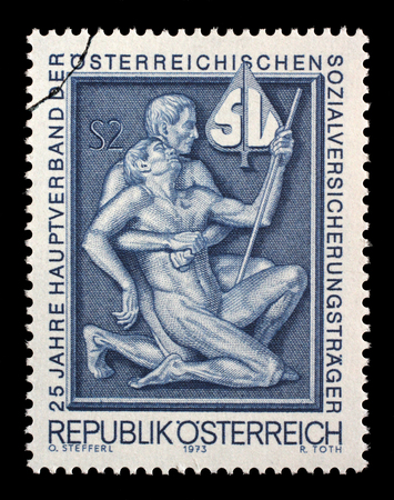 eligibility: Stamp printed by Austria, shows Symbolism for aid and support, 25th Anniversary of the Primary Association of the Austrian Social Security Carrier circa 1973