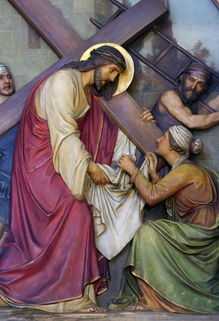 crucis: 6th Stations of the Cross, Veronica wipes the face of Jesus, Basilica of the Sacred Heart of Jesus in Zagreb, Croatia