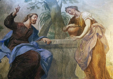 Jesus and the Samaritan Woman, fresco in the St Nicholas Cathedral in Ljubljana, Slovenia