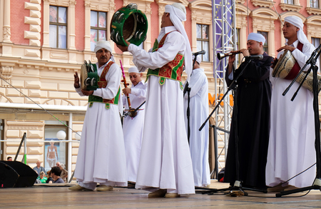 folklore: Members of Al Tannoura Folklore Troupe, Cairo, Egypt during the 50th International Folklore Festival in center of Zagreb, Croatia on July 20, 2016 Editorial