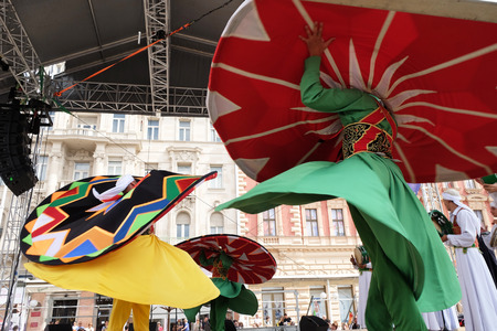 troupe: Members of Al Tannoura Folklore Troupe, Cairo, Egypt during the 50th International Folklore Festival in center of Zagreb, Croatia on July 20, 2016 Editorial