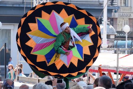 troupe: Members of Al Tannoura Folklore Troupe, Cairo, Egypt during the 50th International Folklore Festival in center of Zagreb, Croatia on July 21, 2016