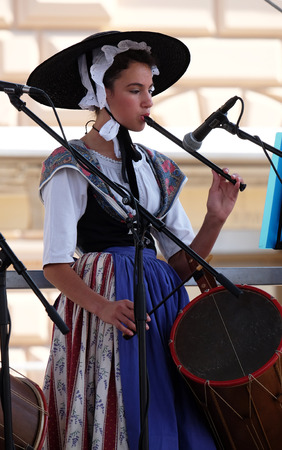 cultural and ethnic clothing: Members of folk group La Farigouleto, La Garde, Provence, France during the 50th International Folklore Festival in center of Zagreb, Croatia on July 21, 2016