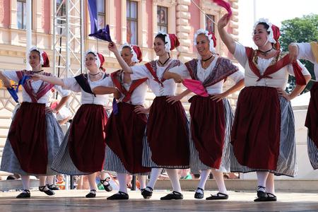 garde: Members of folk group La Farigouleto, La Garde, Provence, France during the 50th International Folklore Festival in center of Zagreb, Croatia on July 21, 2016