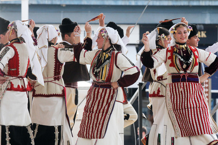 Members of folk group Etnos from Skopje, Macedonia during the 50th International Folklore Festival in center of Zagreb, Croatia on July 22, 2016 Editorial