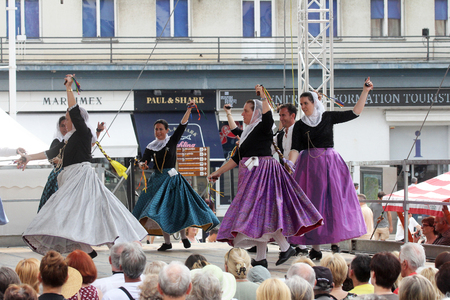 zagreb: Members of folk group Escola de ball de bot Calabruix from Mallorca, Spain during the 50th International Folklore Festival in center of Zagreb, Croatia on July 22, 2016