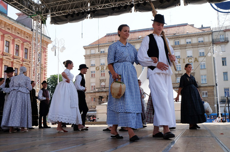 zagreb: Members of folk group from Tavankut, Serbia  during the 50th International Folklore Festival in center of Zagreb, Croatia on July 23, 2016 Editorial