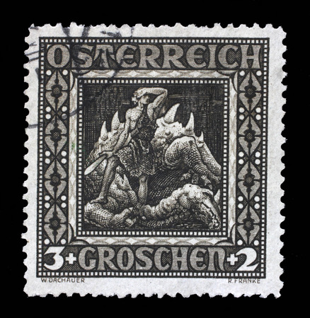 Stamp print in Austria shows Siegried after the battle with the wyvern, The Ring of the Nibelung, Richard Wagner opera, circa 1926