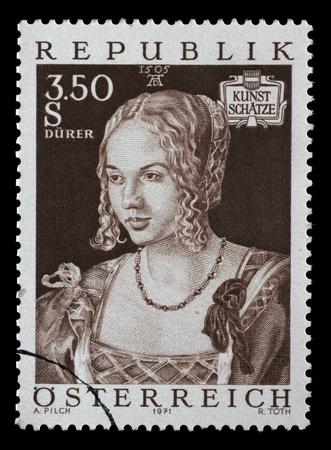 durer: Stamp printed by Austria, shows Art Treasures in Austria, Venice Girl by Albrecht Durer, circa 1971