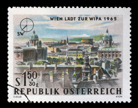 Stamp printed in Austria, is dedicated to the Vienna International Philatelic Exhibition, shows South West Vienna, circa 1964