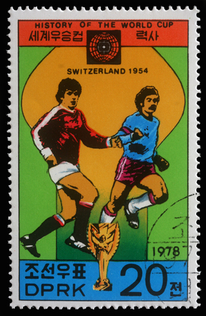 postmail: Stamp printed in Korea showing Football world championship in Switzerland, circa 1978 Editorial