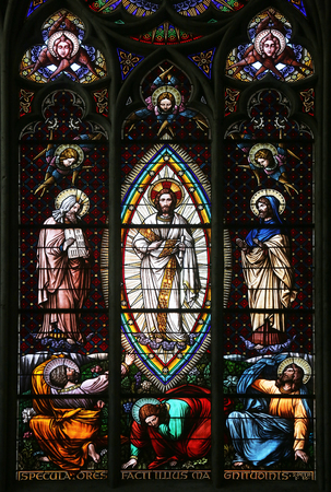 transfiguration: Transfiguration on Mount Tabor, Stained glass in Votiv Kirche (The Votive Church). It is a neo-Gothic church located on the Ringstrabe in Vienna, Austria