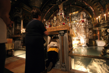 holy land: Via Dolorosa, 12th Stations of the Cross. The pilgrims who visit the Holy Land, pass the path that Jesus carried the cross to Calvary. Jerusalem