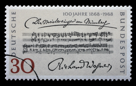 centenary: Stamp printed in the Germany shows Opening Bars, Die Meistersinger von Nurnberg, by Richard Wagner, Centenary of the 1st Performance, circa 1968