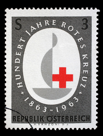 Stamp printed in the Austrian, is dedicated to the 100th anniversary of the International Red Cross, circa 1963