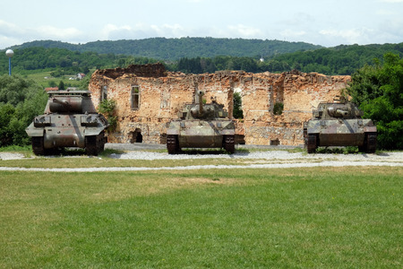 Military tanks Open air museum of the Croatian War of Independence, 1991 - 1995, (Homeland War, Domovinski Rat), Turanj, Croatia Редакционное