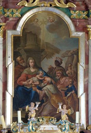 Nativity Scene, Adoration of the Magi altarpiece in parish church of the Holy Trinity in Krasic, Croatia