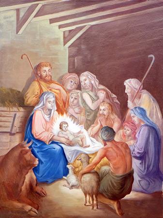 Nativity Scene, Adoration of the Shepherds fresco in parish church of the Holy Trinity in Krasic, Croatia