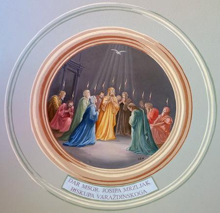 Pentecost fresco in parish church of the Holy Trinity in Krasic, Croatia