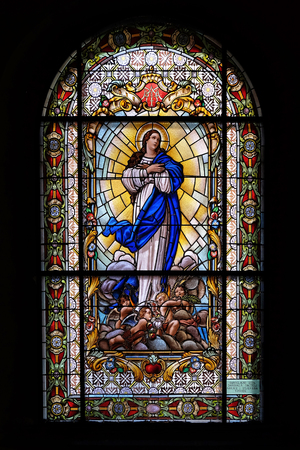 Virgin Mary, stained glass window in the Parish Church of the Visitation of the Virgin Mary in Zagreb, Croatia Editorial