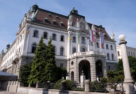 Headquarters building of University of Ljubljana, Slovenia on June 30, 2015 Editorial