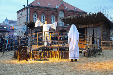 swaddle: The religious spirit in the Advent in Zagreb especially can feel the front of the Cathedral, where Community Cenacolo organizes live Christmas nativity scene.