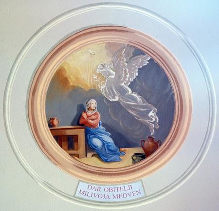 annunciation of mary: Annunciation of the Virgin Mary fresco in parish church of the Holy Trinity in Krasic, Croatia