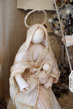 Virgin Mary with baby Jesus, Nativity scene work of Samuela Premuzic, exhibition of mangers in the gallery Vijenac in Zagreb, Croatia on December 21, 2014.