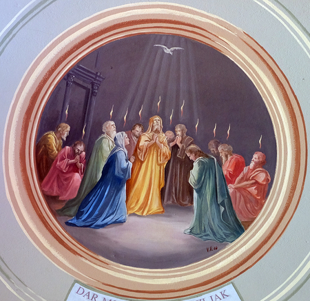 Pentecost fresco in parish church of the Holy Trinity in Krasic, Croatia