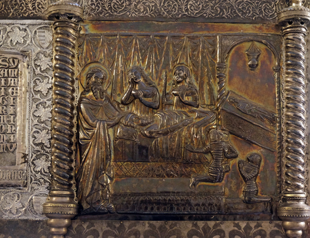 bass relief: Bass relief with images from the life of St. Simeon, Saint Simeons chest at the atrium of Croatian Academy of Sciences and Arts in Zagreb