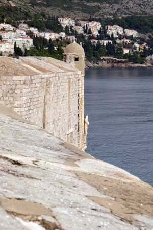 impregnable: Defense walls of the old town of Dubrovnik, a well-preserved medieval fortress and a popular tourist destination, Croatia
