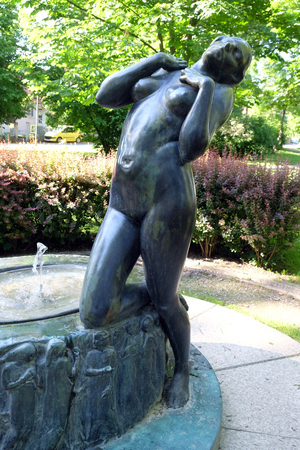 Fountain with a sculpture Elegy by the famous Croatian sculptor Ivana Franges on Rokov perivoj in Zagreb, Croatia 에디토리얼