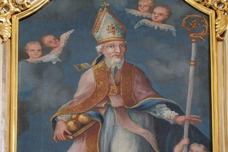 altarpiece: Saint Nicholas, altarpiece in parish Church of Our Lady of snow in Kamensko, Croatia Editorial
