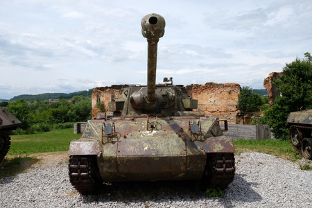 homeland: Military tanks Open air museum of the Croatian War of Independence, 1991 - 1995, (Homeland War, Domovinski Rat), Turanj, Croatia on June 11, 2016