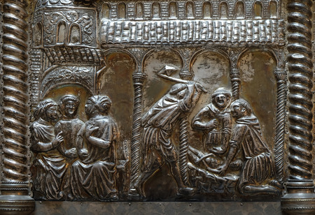 bass relief: Bass relief with images from the life of St. Simeon, Saint Simeons chest at the atrium of Croatian Academy of Sciences and Arts in Zagreb, on April 13, 2016.