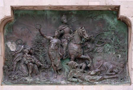 bass relief: Relief on a monument from 1893 of poet Ivan Gundulic in Dubrovnik, Croatia on December 01, 2015.