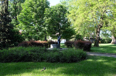 Fountain with a sculpture Elegy by the famous Croatian sculptor Ivana Franges on Rokov perivoj in Zagreb, Croatia on May 16, 2016. 에디토리얼