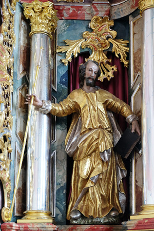church of our lady: Statue of saint on the main altar in parish Church of Our Lady of snow in Kamensko, Croatia on June 11, 2016 Editorial