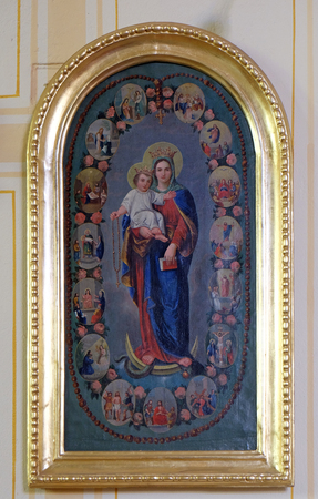 altarpiece: Virgin Mary Queen of the Holy Rosary altarpiece in parish church of the Holy Trinity in Krasic, Croatia on June 11, 2016