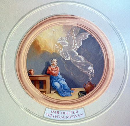annunciation of mary: Annunciation of the Virgin Mary fresco in parish church of the Holy Trinity in Krasic, Croatia on June 11, 2016