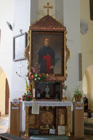 blessed trinity: Blessed Aloysius Stepinac altar in parish church of the Holy Trinity in Krasic, Croatia on June 11, 2016