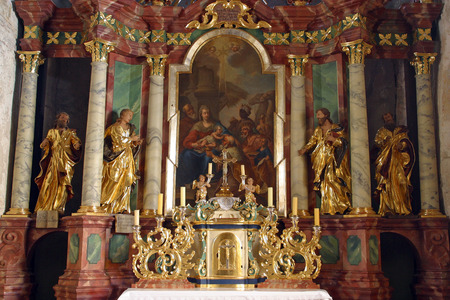 tabernacle: Adoration of Magi, altar in parish church of the Holy Trinity in Krasic, Croatia on May 15, 2012