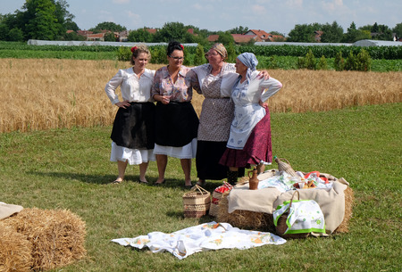 The harvest traditionally begins assembling villagers, singing and dancing and good food in Nedelisce, Croatia on July 02, 2016