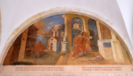 The frescoes with scenes from the life of St. Francis of Assisi, cloister of the Franciscan monastery of the Friars Minor in Dubrovnik, Croatia on December 01, 2015.