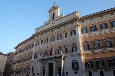 Palazzo Montecitorio, seat of the Italian Chamber of Deputies in Rome, Italy
