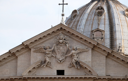 Coat of arms of Pope Alexander VII Chigi on the portal of Sant Andrea della Valle Church in Rome, Italy